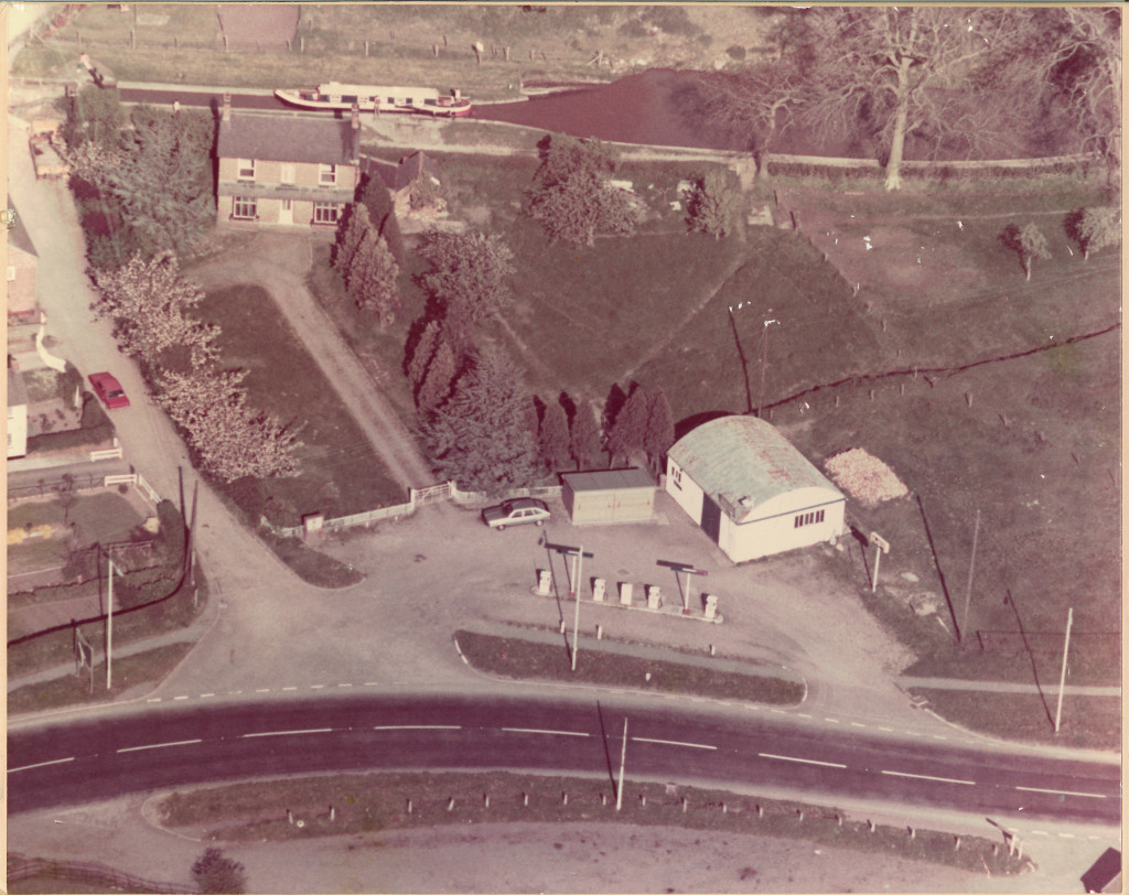 An aerial shot of the original D A Roberts Garage and Filling Station at Grindley Brook, Whitchurch