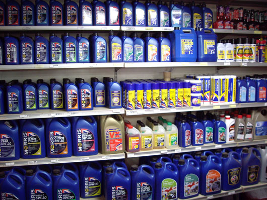 A display of Morris Oils
